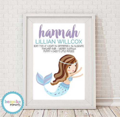 Lilac & Blue Mermaid Birth Print by Bespoke Moments. Worldwide Shipping Available.