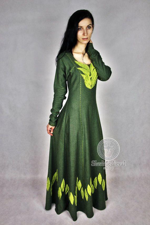 Linen dress fantasy medieval gown chemise by SlavMedievalShop