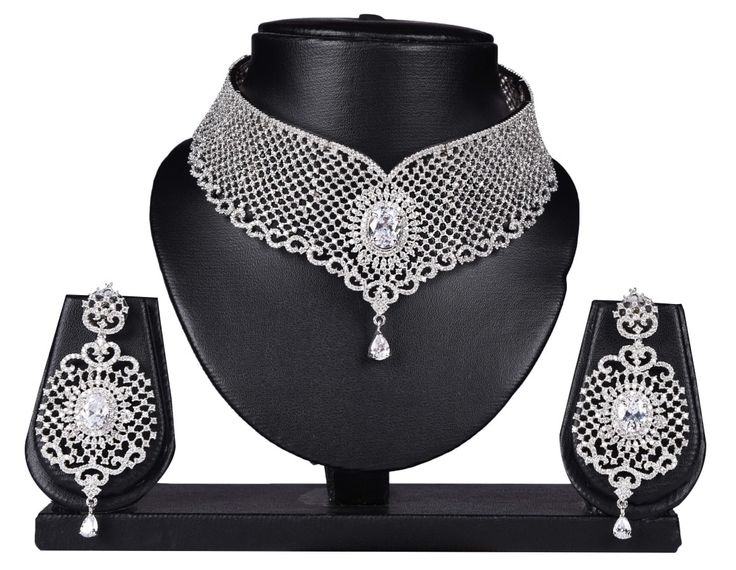 White Color Pure Silver Indian Wedding Jewellery Set