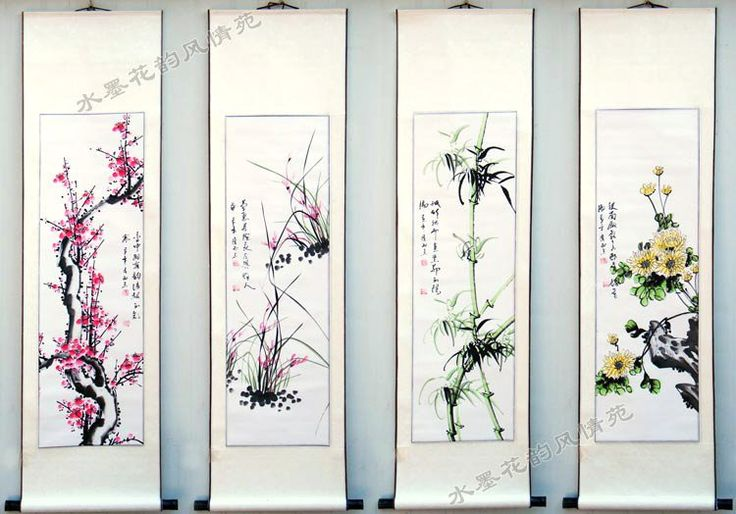 Flower Chinese calligraphy painting 100% hand-painted artwork Hanging scroll oriental art