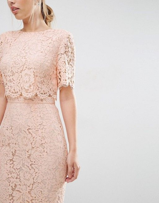 f17817c7 ASOS Lace Crop Top Midi Pencil Dress in BLUSH PINK (with gold accessories)  US.ASOS.COM -- #summer#fashionable#dress