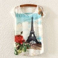 Cheap New Vintage Women Short Sleeve Floral Eiffel Tower Print T Shirt Blouse Tops Tee Material: Cot