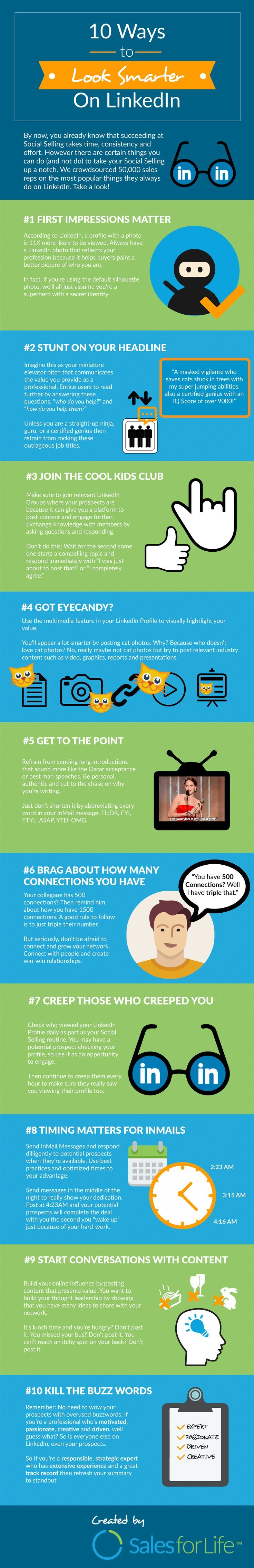 """10 Ways To Look Smarter On LinkedIn <a class=""""pintag"""" href=""""/explore/Infographic/"""" title=""""#Infographic explore Pinterest"""">#Infographic</a> <a class=""""pintag searchlink"""" data-query=""""#LinkedIn"""" data-type=""""hashtag"""" href=""""/search/?q=#LinkedIn&rs=hashtag"""" rel=""""nofollow"""" title=""""#LinkedIn search Pinterest"""">#LinkedIn</a>"""