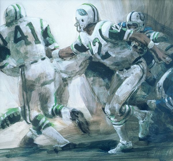 Broadway Joe Namath of the NY Jets hands off to Matt Snell in Super Bowl III. 16.5 x 15 inches, acrylic on board by Thomas A Needham.