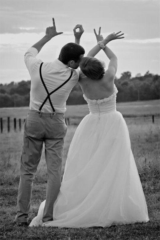 Lustige Fotoideen für Hochzeitsfotos