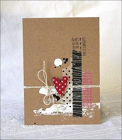 messie birthday card in black, white, brown & red, using masking tapes - by Bille scrapt