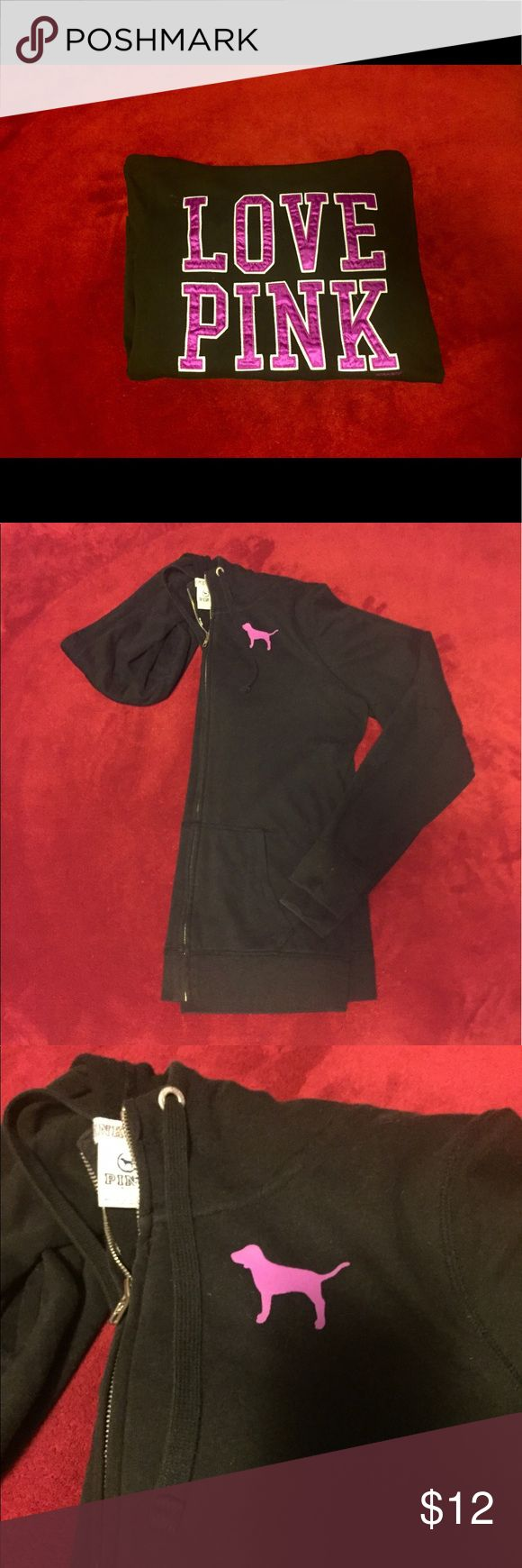 """VS Pink zip up! This is the perfect zip up to get up and go! Warm cozy lining with hood. """"LOVE PINK"""" decal on back. Black color perfect to pair with anything. Fits more like a large! PINK Victoria's Secret Tops Sweatshirts & Hoodies"""