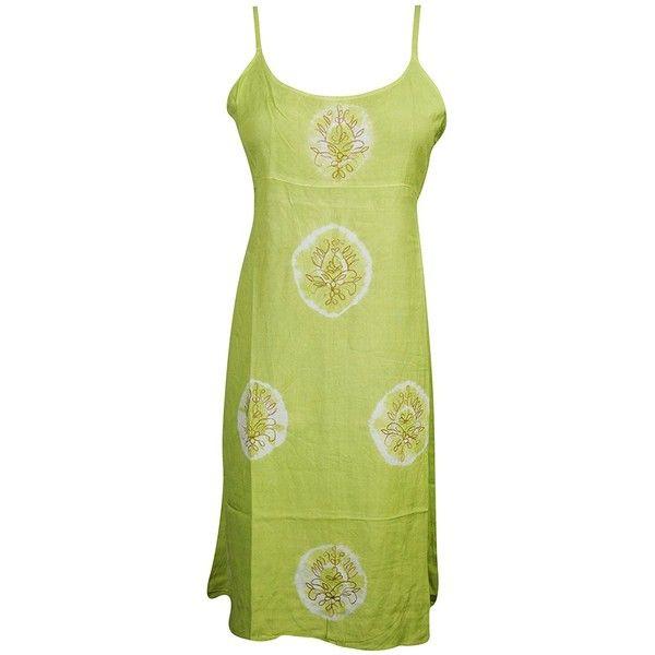 Mogul Womens Tank Dress Embroidered Tie Back Boho Chic Sexy Resort... (22 AUD) ❤ liked on Polyvore featuring dresses, sexy green dress, embroidered sundress, green dress, sexy sundresses and boho embroidered dress