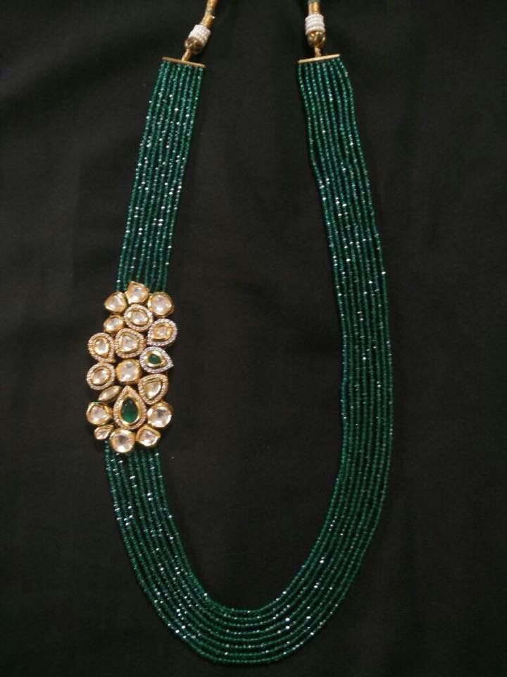 Emerald strands with side pendant #IndianJewellery