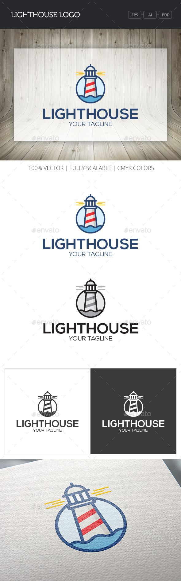 Lighthouse logo Ideal for creative studio, motion picture, research lab etc.Whats inside:AI (v12), EPS (v10) files - 100 vector,