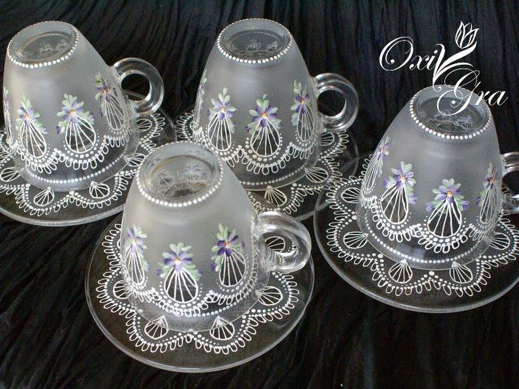 Šálky na čaj * ručně malované sklo ♥