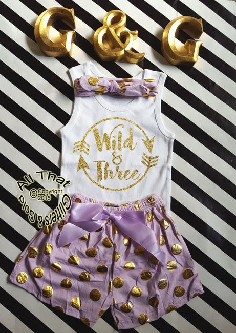 Wild and Three Lavender and Gold Glitter 3rd Birthday Pom Pom Shorts OutfitsLooking for something different and unique for your little three year old's birthday? Tired of the same tutu outfit every year? If so, Let us add a little or a lot of shine to your little sweetie's life with our NEW! trendy and sassy glitter 3rd birthday shorts outfit. This outfit is so cute and perfect for your little diva's 3rd birthday celebration, photo shots or every day wear. Made with a gold glitter...
