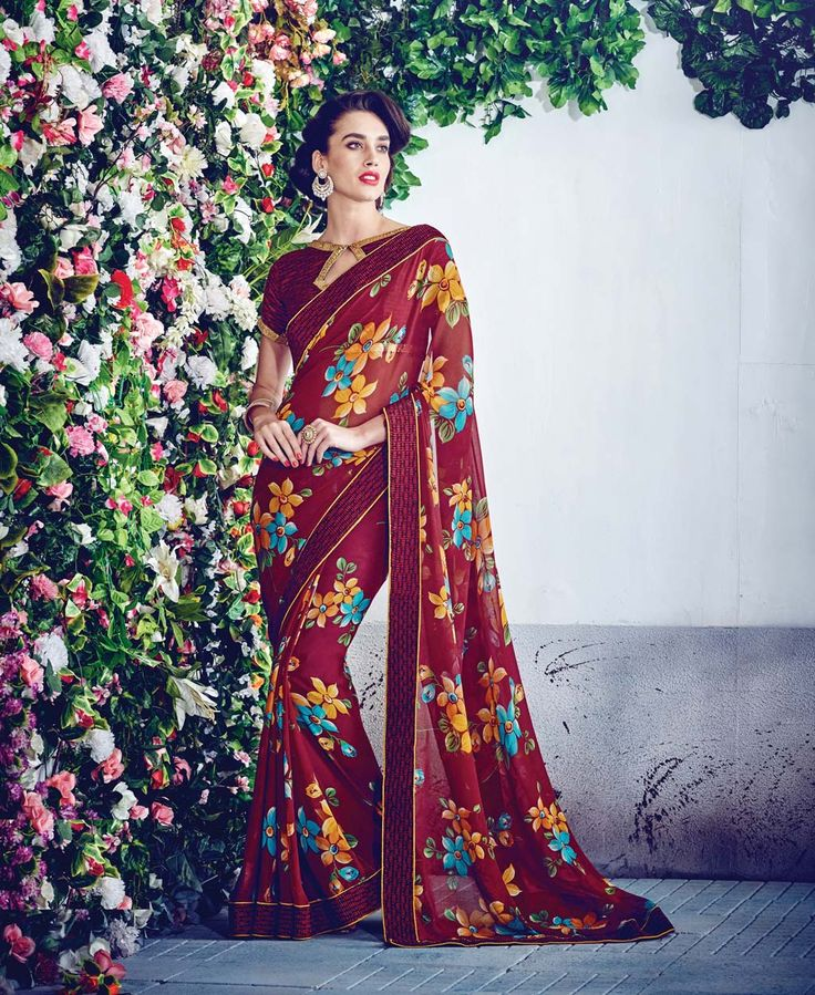 Maroon Georgette Printed Saree With Blouse 69734