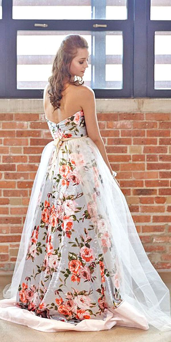 17 best images about floral inspired wedding dresses on for Floral print dresses for weddings
