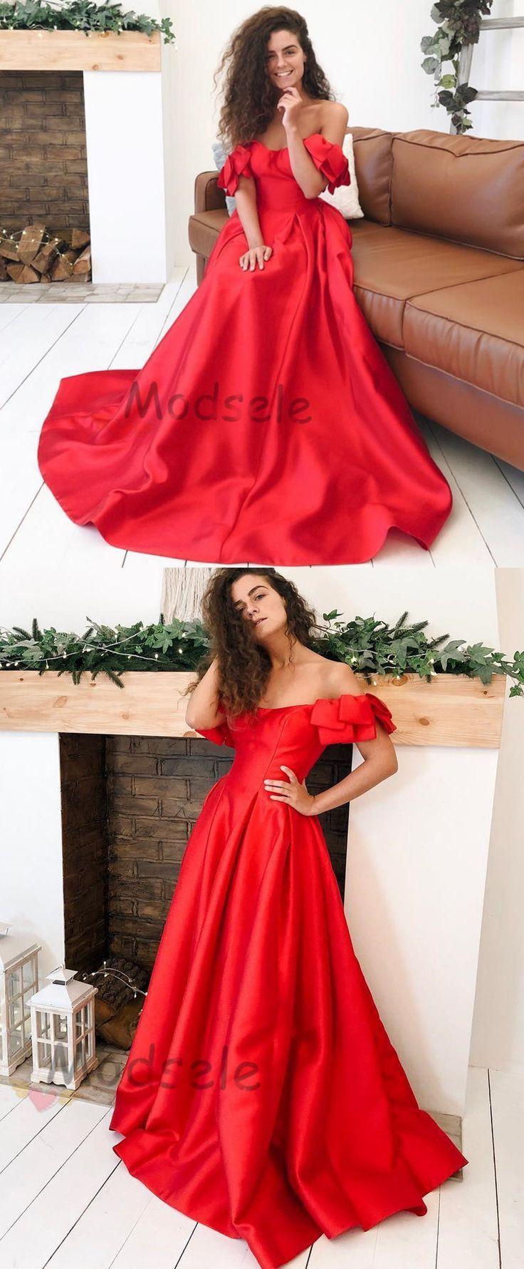 Wunderschönes schulterfreies rotes langes Ballkleid von modsele