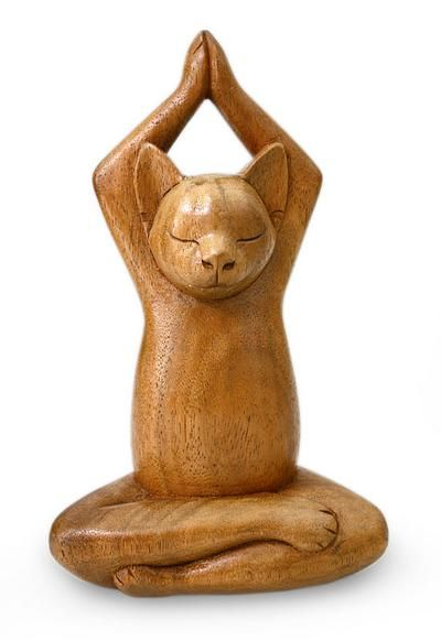 Hand Crafted Wood Sculpture from Indonesia - Toward the Sky Brown Yoga Cat | NOVICA