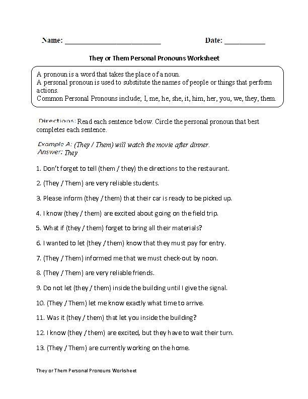 They or Them Personal Pronouns Worksheet