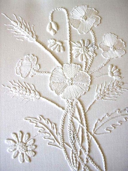 stitchingsanity:  Mountmellick Poppies - white on white - beautiful!  Visit pattrott.co.uk