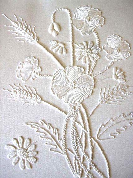 """stitchingsanity: """" Mountmellick Poppies - white on white - beautiful! Visit pattrott.co.uk """""""