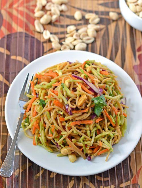 Asian Noodle Salad with Sriracha Peanut Sauce