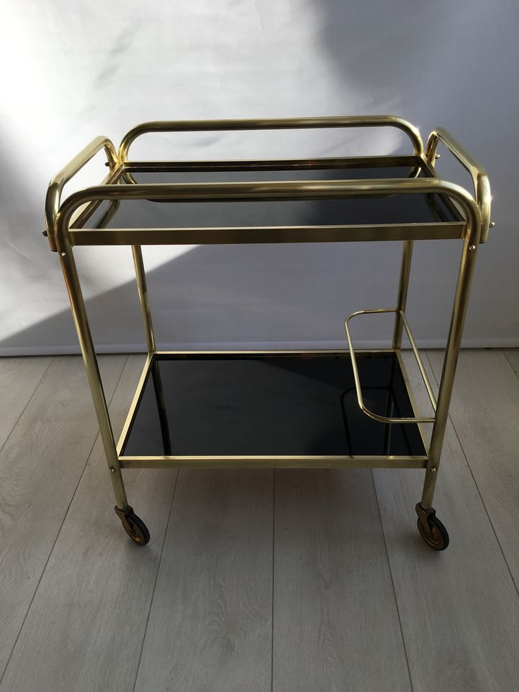 Mid Century Vintage French Drinks Trolley with Black Melamine Top