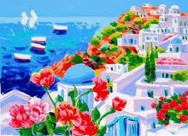 """Colori e Profumi del Mediterraneo  (""""Santorini: due vele all'orizzonte"""", Athos Faccincani - Italian artist) #athosfaccincani #greece #grecia #santorini #greekislands #whitehouses"""