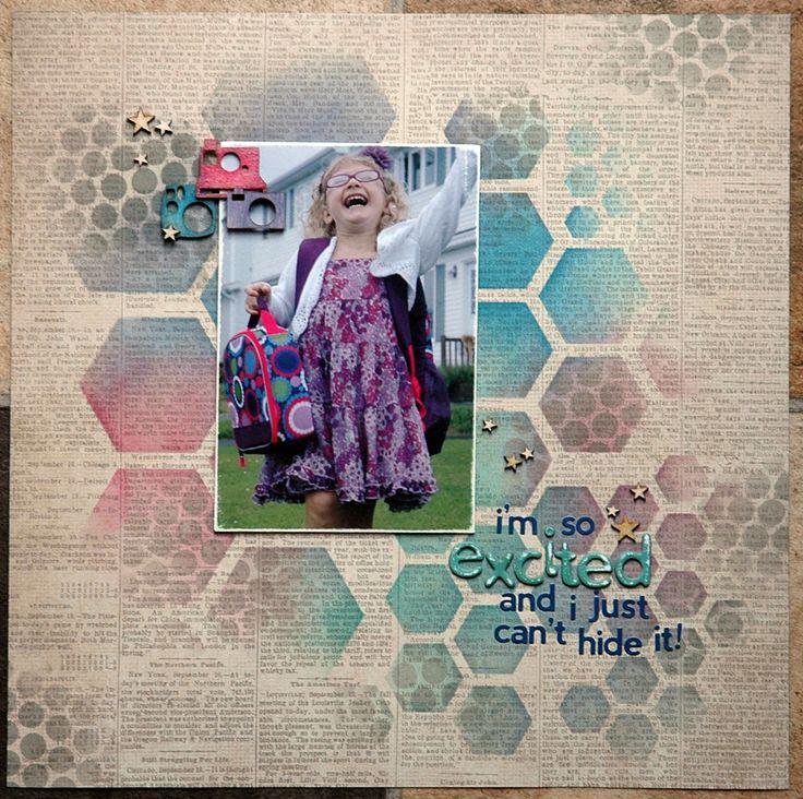 "Sara Case Strickland using the Balzer Designs ""Hexagons"" stencil for a Paperie class."