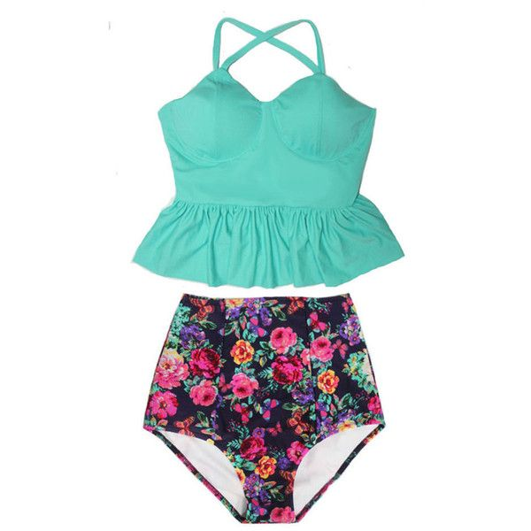 Mint Long Peplum Tankini Tankinis Top and Flora Retro High Waisted... ($40) ❤ liked on Polyvore featuring swimwear, bikinis, silver, women's clothing, retro bathing suits, retro high waisted swimsuit, tankini bathing suits, swimsuits bikinis and high waisted bathing suits