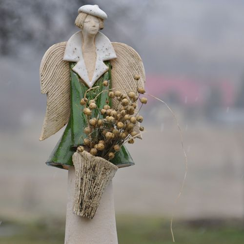 JOANNA PIOTROWSKA - anioł kosz len