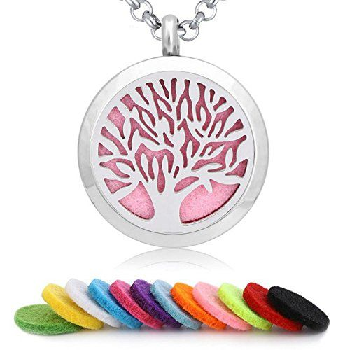 AKOAK 30mm118 Tree of Life Aromatherapy Essential Oil Diffuser 24 Adjustable Chain Stainless Steel Necklace with 12 Random Color Felt Pads >>> You can find out more details at the link of the image.-It is an affiliate link to Amazon. #ChristmasGift