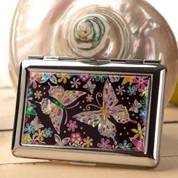 Antique Alive Mother of Pearl Cigarette Case with Butterfly Flower Design