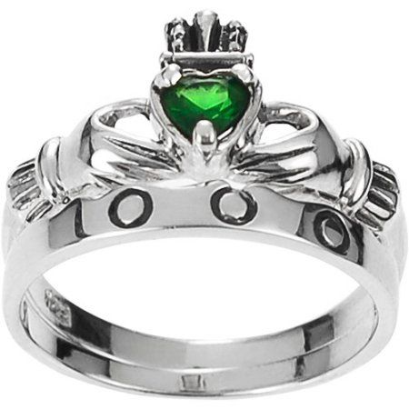 Brinley Co. Women's CZ Sterling Silver Claddagh Ring, Size: 8, Green
