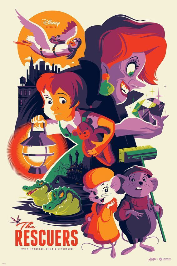 The Rescuers by Tom Whalen for Mondo X Cyclops #Disney