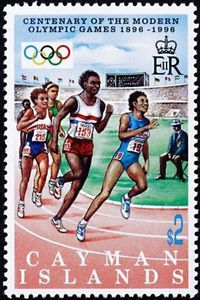 Stamp: Running (Cayman Islands) (Cent. Of Modern Olympic Games) Mi:KY 755