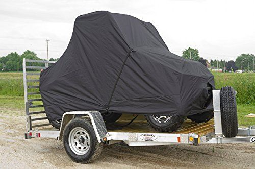 Dowco Guardian Trailerable Ratchet Fastening UTV Cover for Yamaha Rhino and Kym – One Size  Dowco Guardian Trailerable Ratchet Fastening UTV Cover for Yamaha Rhino and Kymco    – Black – 2-year limited manufacturers warranty – Fits units up to 115in L x 60in W x 74in H Ratchet system integrated into the cover along the perimeter, provides secure fit while trailering Ratchet system integrated into the cover along the perimeter, provides secure fit while trailering Heavy-duty polyester..