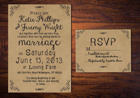 Rustic Wedding Invitation Hand Drawn Style by WrittenInDetail