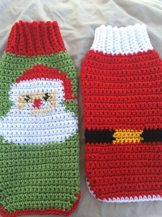Custom Holiday Crochet Dog Sweater Crochet Dog by KadieCrochets