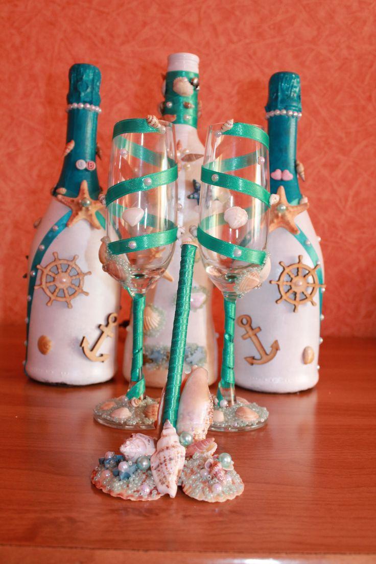 Свадебные бутылки и бокалы в морском стиле