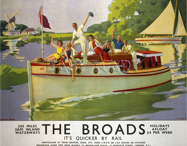 The Broads - It's Quicker by Rail Art Print by National Railway Museum Easyart.com