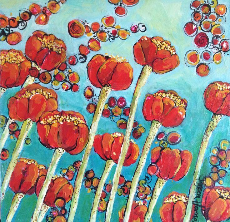 Blood Lilies - Acrylic on hardboard by Janeen Horne www.janeenhorneartist.com