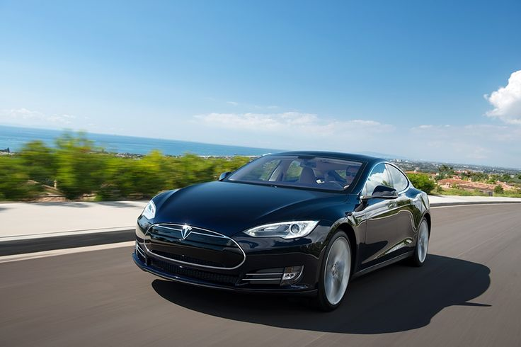 Model S in Blue, Driving Down The Coast
