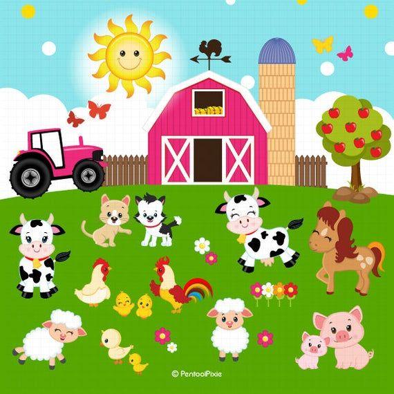 Farm Animals Clipart Farmer Girls Clipart Farm Clipart Etsy Animal Clipart Farmer Girl Farm Animals