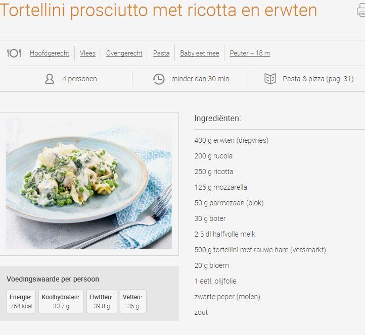 goedkope recepten met kaas / groenten Tortellini prosciutto met ricotta en erwten | Colruyt 2,05 €/pers.