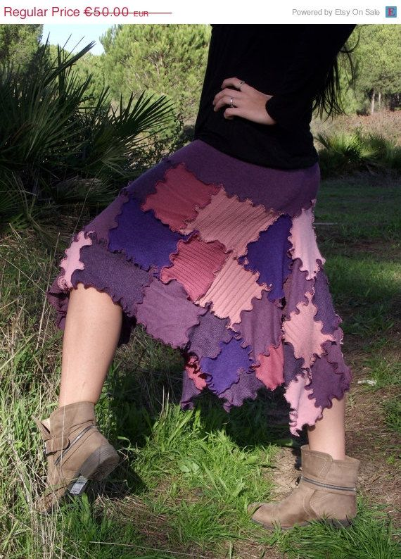 SALE Recycled wool fabric handmade skirt Patchwork skirt Gypsy Bohemian Nomad Hippie Pixie Fairy skirt One size OOAK Purple Pale Pink