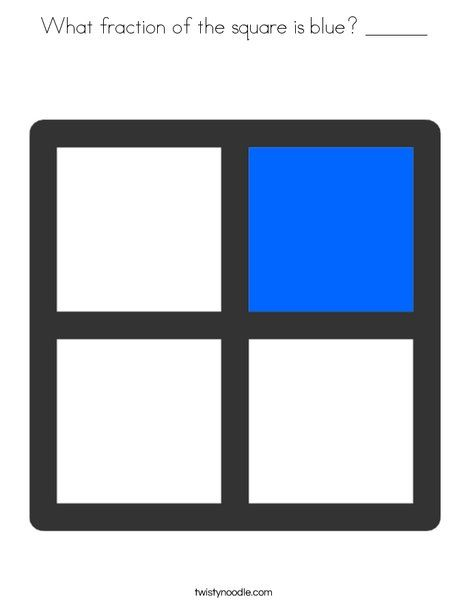 What fraction of the square is blue ______ Coloring Page - Twisty Noodle