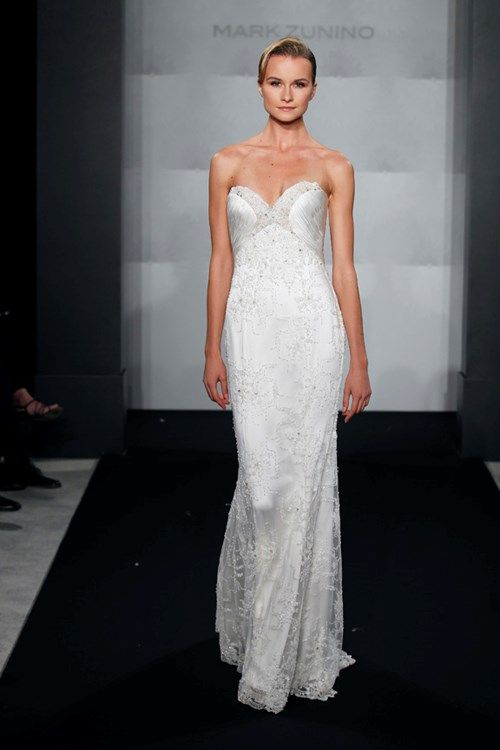 Nice Bridal Gowns Mark Zunino Sheath Wedding Dress with Sweetheart Neckline and Empire Waist Waistline