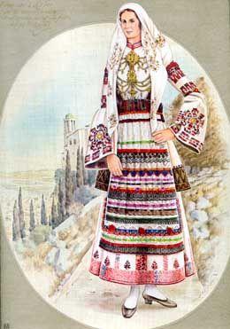 Κόρη από το Άργος με την παραδοσιακήν ενδυμασίαν της και στο βάθος άποψη του Άργους.