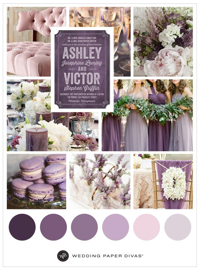 Love the color purple? Check out our wedding colors inspiration board. From purple dresses to macaroons, this purple wedding theme will make you swoon.