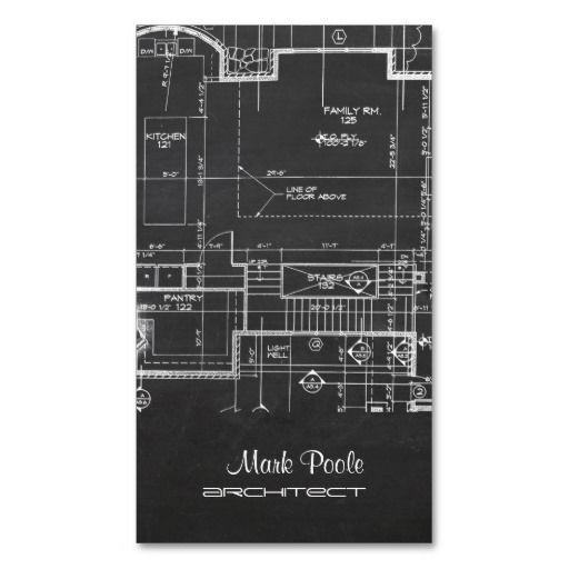 business cards architect | chalkboard architect blueprint business cards for the new architects ...