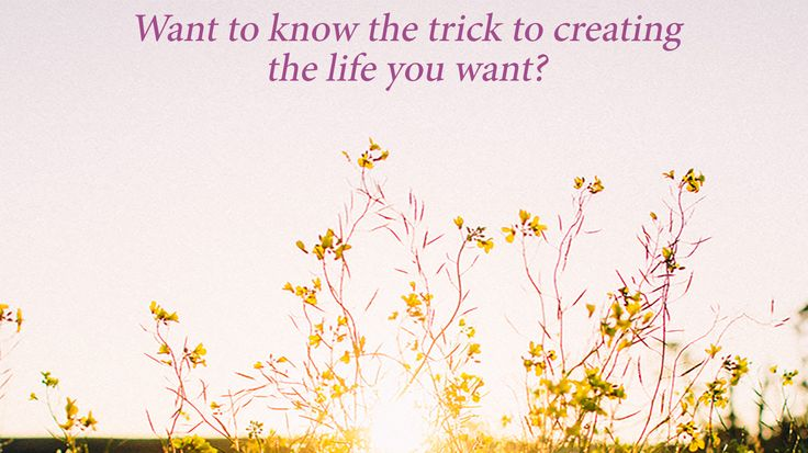 the trick to creating the life you want
